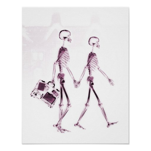 Poster X-Ray Skeleton Couple Traveling Pink