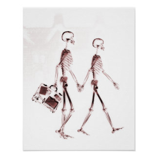 Poster- X-Ray Skeleton Couple Traveling Red Poster