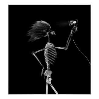 POSTER - X-RAY SKELETON HAIR STYLING B&W