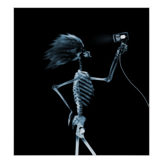 POSTER - X-RAY SKELETON HAIR STYLING BLUE