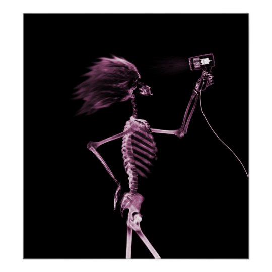 POSTER - X-RAY SKELETON HAIR STYLING PINK