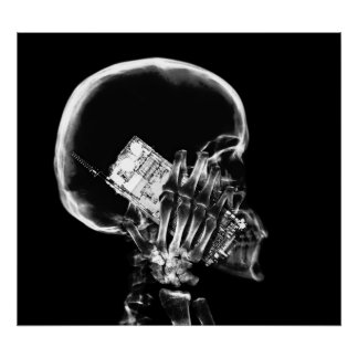 POSTER - X-RAY SKELETON ON PHONE BLK GREY
