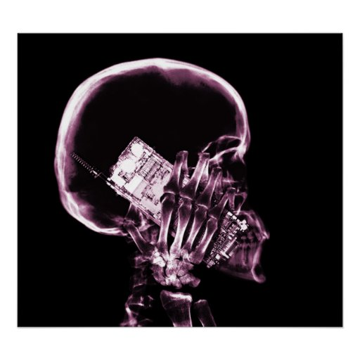 POSTER - X-RAY SKELETON ON PHONE BLK PINK