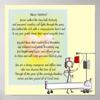 Poster y poema jubilados del arte de la enfermera