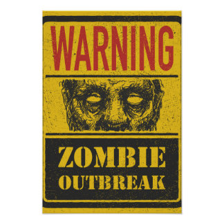 Poster Zombie Outbreak. Sign Board With Zombie