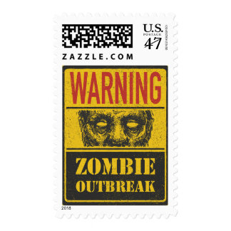 Poster Zombie Outbreak. Sign Board With Zombie Postage