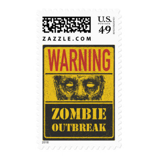 Poster Zombie Outbreak. Sign Board With Zombie Postage Stamp