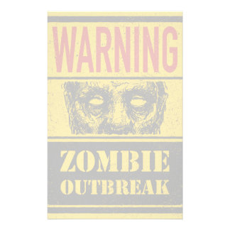 Poster Zombie Outbreak. Sign Board With Zombie Stationery