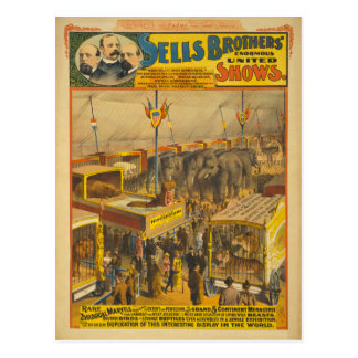 Poster zoológico del circo de las maravillas de tarjeta postal