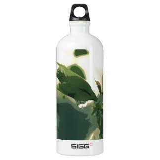 Posterize Raindrop Dripping Green Plant Nature Aluminum Water Bottle