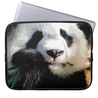 Posterized Cute Panda Bear Eating Bamboo Closeup Laptop Computer Sleeves