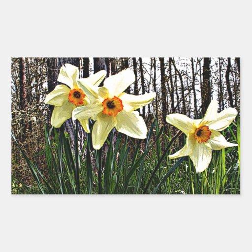 Posterized Daffodils Rectangular Sticker