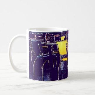 Posterized Digital Realism Diner Chairs Purple Coffee Mug