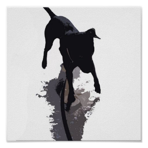 posterized dog and shadow poster
