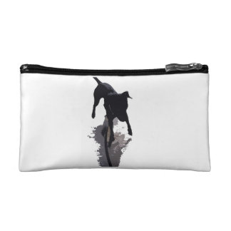 posterized dog and shadow cosmetic bag