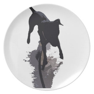 posterized dog and shadow dinner plate