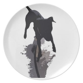 posterized dog and shadow party plates