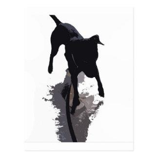 posterized dog and shadow postcard