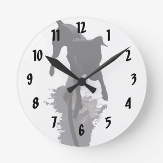 posterized dog and shadow round clock