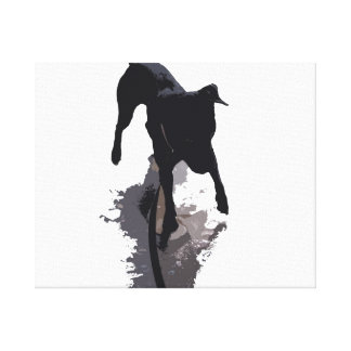 posterized dog and shadow stretched canvas print