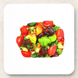 Posterized Hot Pepper Assortment Picture Beverage Coaster
