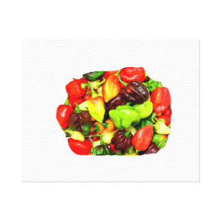 Posterized Hot Pepper Assortment Picture Canvas Print