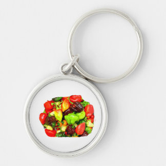 Posterized Hot Pepper Assortment Picture Keychain