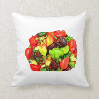 Posterized Hot Pepper Assortment Picture Throw Pillow