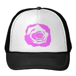 Posterized Pink colored single rose bloom Trucker Hats