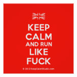 [UK Flag] keep calm and run like fuck  Posters