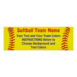 Posters adaptables del softball su texto y colores
