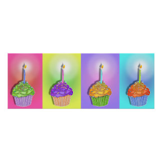 Posters, Banners - Birthday Cupcakes