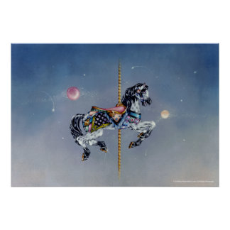 Posters, bella arte - caballo gris del carrusel de