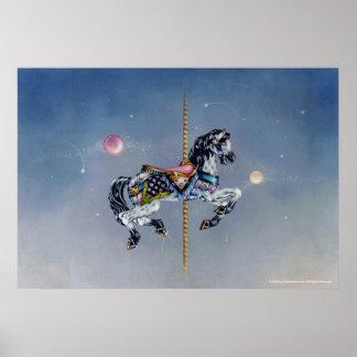 Posters, bella arte - caballo gris del carrusel de póster