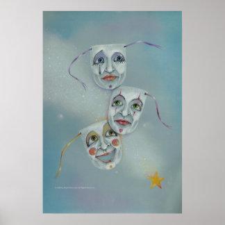 Posters bella arte - la felicidad rasga máscaras