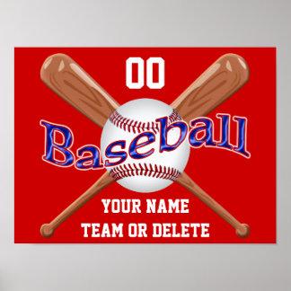 Posters blancos y azules rojos del béisbol