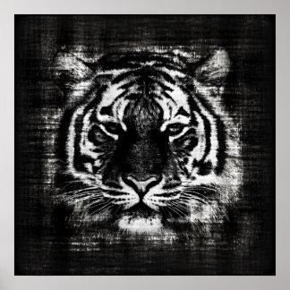 Posters blancos y negros del vintage del tigre