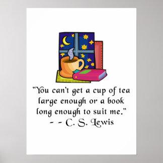 Posters de la cita del té y de los libros w