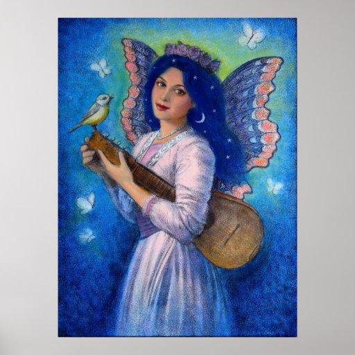 Posters de la fantasía, hada del pájaro de la músi