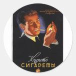 Posters de la propaganda de Unión Soviética de la Pegatinas Redondas
