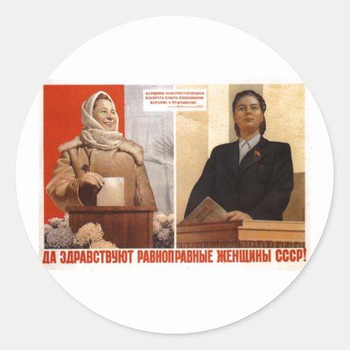 Posters de la propaganda de Unión Soviética de la Pegatina Redonda