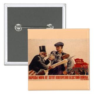 Posters de la propaganda de Unión Soviética de la  Pin Cuadrada 5 Cm