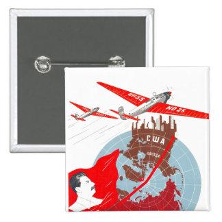 Posters de la propaganda de Unión Soviética de la Pin Cuadrado