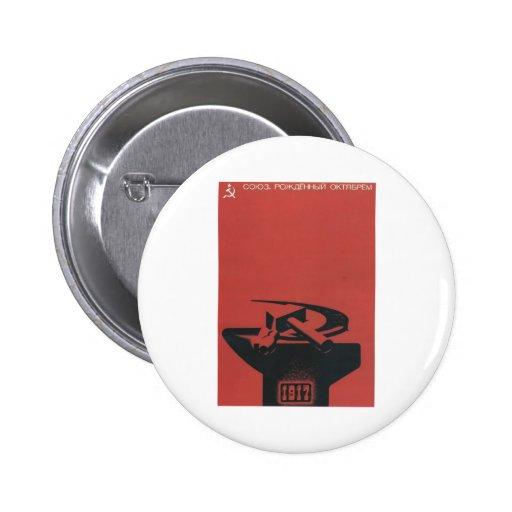 Posters de la propaganda de Unión Soviética de la  Pin Redondo 5 Cm