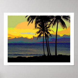 Posters de la puesta del sol de Hawaii del vintage