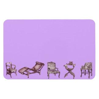 Posters de la silla en rosa de la lila iman rectangular