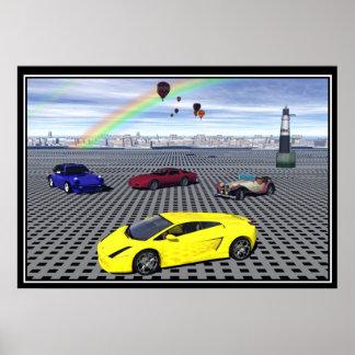 Posters de los globos de los coches de deportes