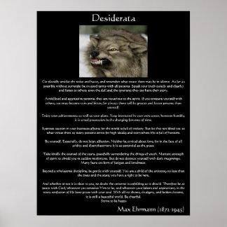 Posters de los lobos grises de los desiderátums