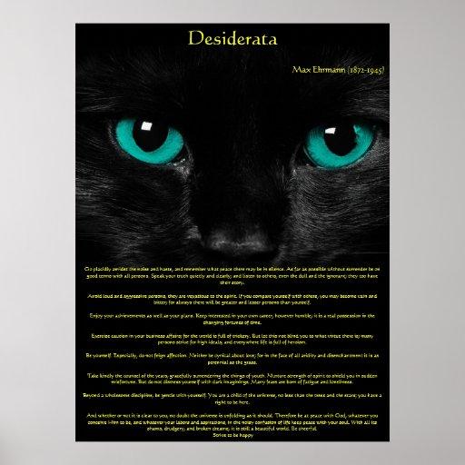 Posters de los ojos de gato de los desiderátums