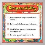 Posters de los rasgos de carácter, responsabilidad